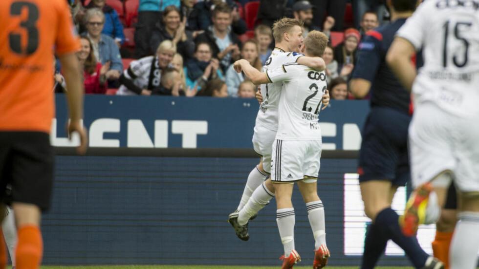 SCORET: Fredrik Midtsjø åpnet målshowet for Rosenborg etter bare fire minutter.  Foto: Ned Alley / NTB scanpix