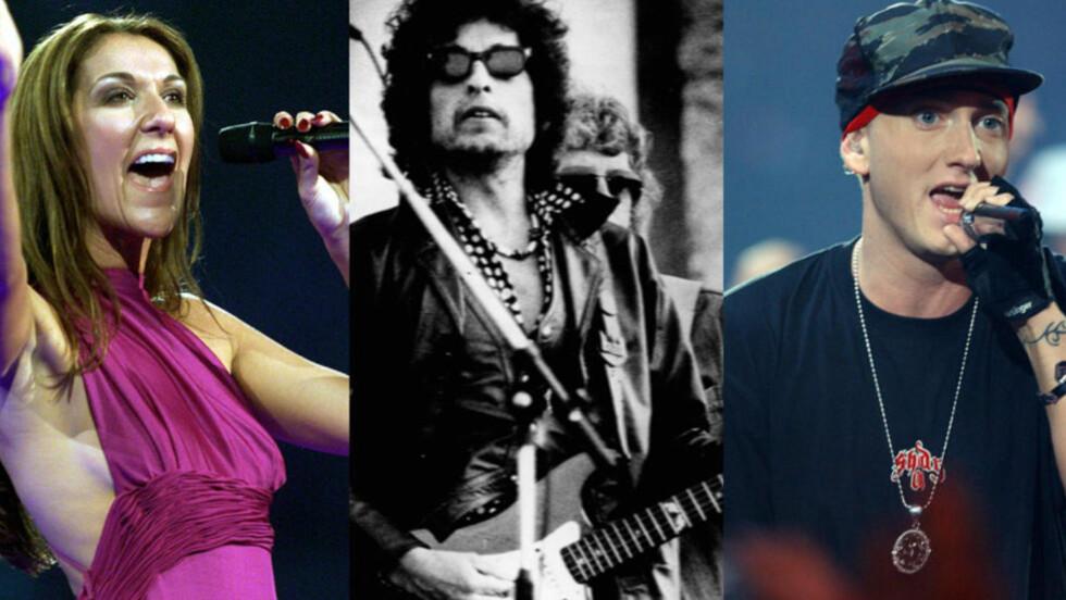 ORDSTERK: Celine Dion, Bob Dylan og Eminem er legender i hver sin sjanger. Dylan har blitt foreslått til Nobels litteraturpris, men har likevel ikke et like varierende språk som rapperen Eminem. Foto: NTB Scanpix