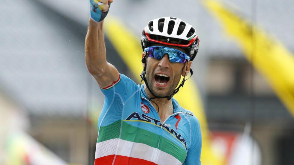 TA DEN, FROOME Vincenzo Nibali hentet hjem sin første etappeseier i årets tour. Men måten det skjedde på var omdiskutert. FOTO: REUTERS/Stefano Rellandini