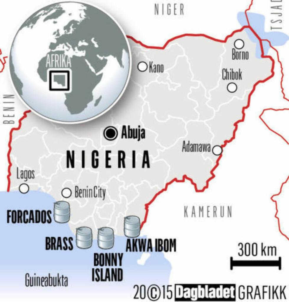 Fire terminaler:  Norges eksport av olje og gass er på rundt 1,9 millioner fat daglig. Nigerias eksport er på 2 millioner fat daglig og nesten alt går ut via disse fire terminalene. Grafikk: Kjell Erik Berg / Dagbladet