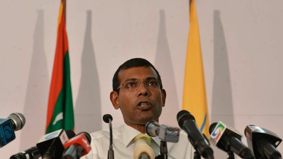 HUSARREST: Maldivenes første demokratisk valgte president slipper med husarrest etter at han tidligere i år ble dømt til 13 års fengsel for «terrorisme». Foto: AFP PHOTO/Ishara S. KODIKARA/FILES/NTB Scanpix