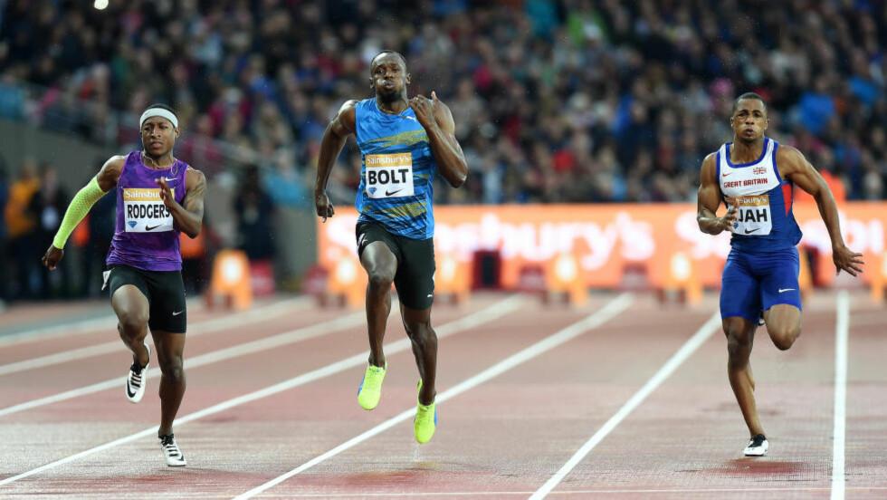 VANT: Usain Bolt knuste konkurrentene i comebacket i London. Foto: Scanpix