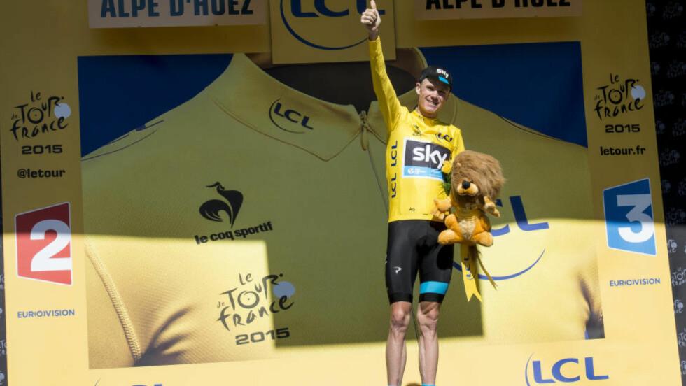 SIKKERT GULT: I tre uker har Chris Froome kjempet om gult. På Alpe d'Huez forsvarte han trøya med nebb og klør mot angrep fra Nairo Quintana og Alejandro Valverde. Søndag tar Sky-rytteren sin andre Tour-tittel i Paris (fotot Scanpix)