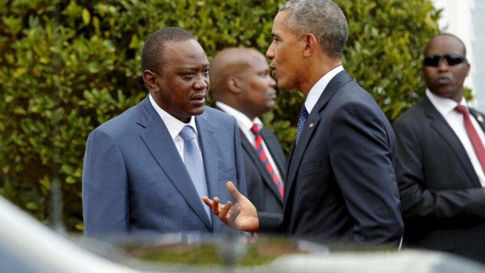 I NAIROBI: Kenyas president Uhuru Kenyatta og USAs president Barack Obama. Foto: REUTERS / Jonathan Ernst / NTB scanpix