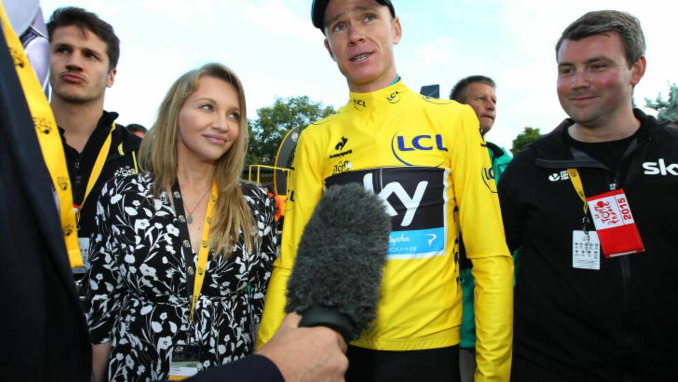 TROVERDIG VINNER:  Chris Froome; her med kona Michelle, er med sin bakgrunn fraSky-lagets troverdige kamp mot doping, en viktig Tour-vinner for sykkelsporten. FOTO: AP/Christope Ena.