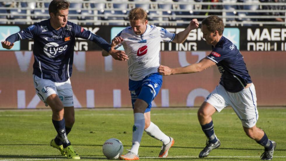 Kjempet hardt:  Hjemmelaget kjempet hardt mot et godt organisert FK Haugesund. Det fikk de ikke betalt for.   Foto: Carina Johansen / NTB scanpix