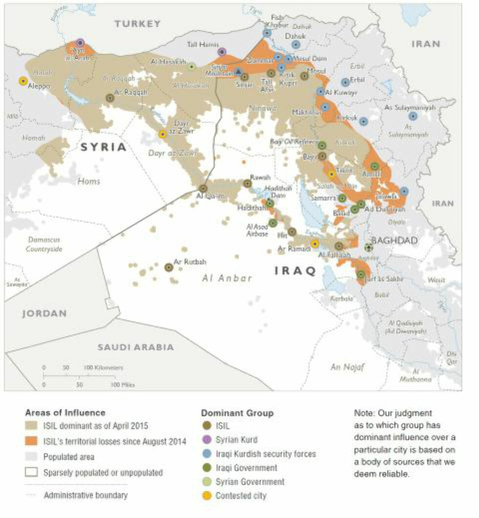 TERRORENS OMRÅDER:  De beige områdene er steder hvor terrorgruppa IS har innflytelse i Irak og Syria. De oransje områdene er steder de tidligere har hatt, men hvor de ikke lenger kan operere fritt. Foto: Det amerikanske forsvarsdepartementet