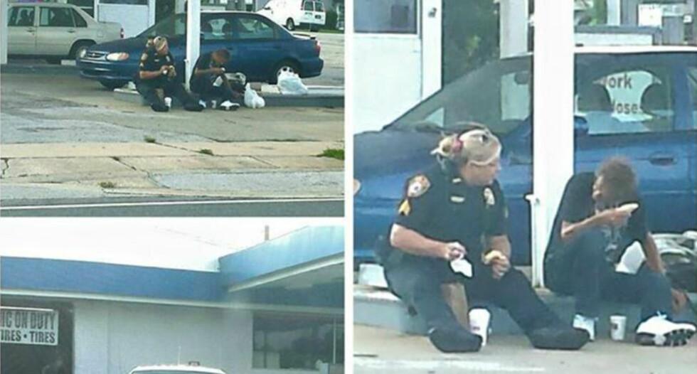 FROKOSTMØTE: Politibetjent Erica Hay var på vei til å kjøpe frokost da hun så en hjemløs mann på fortauet utenfor. Da bestemte hun seg for å spise sammen med ham. Foto: TiAnna S. Greene