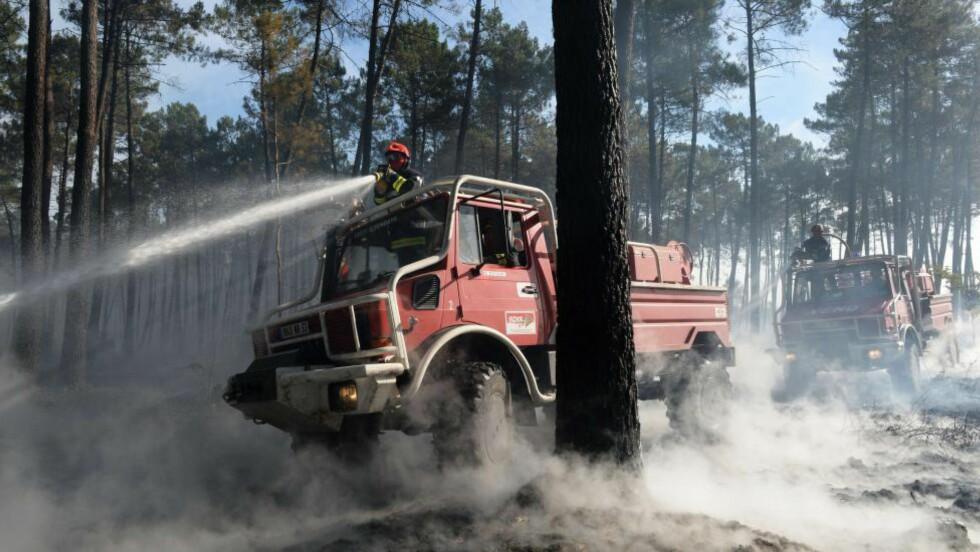 BRANNBILER MOT BRANN: Rundt 650 brannmenn er satt inn i kampen mot skogbrannene som herjer rundt den franske byen Bordeaux. Ifølge nyhetsbyrået AFP er 270 hjem evakuert. Foto: MEHDI FEDOUACH / AFP / NTB SCANPIX