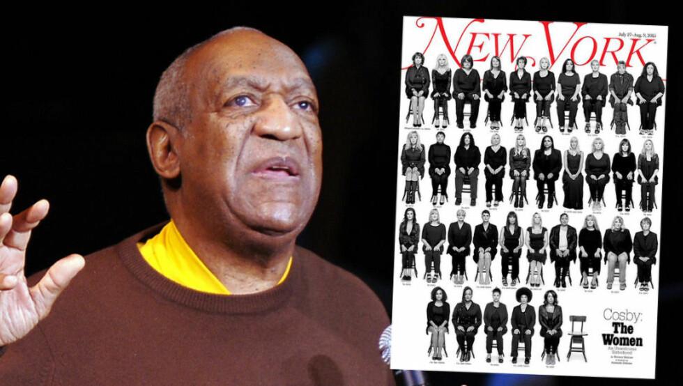 UT MOT COSBY: New York Magazine har snakket med 35 av kvinnene som har anklaget komiker Bill Cosby for seksuelle overgrep over en periode på flere tiår. Foto: NTB Scanpix / Faksimile