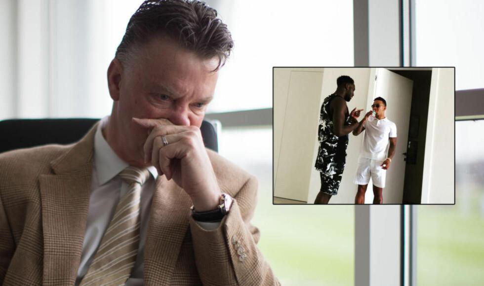 SPISS-JAKT?: Manchester United-manager Louis van Gaal lader opp til en ny sesong. Et bilde som Memphis Depay har lagt ut av seg selv og Romelu Lukaku får flere til å undre om Everton-spissens framtid. Foto: NTB Scanpix