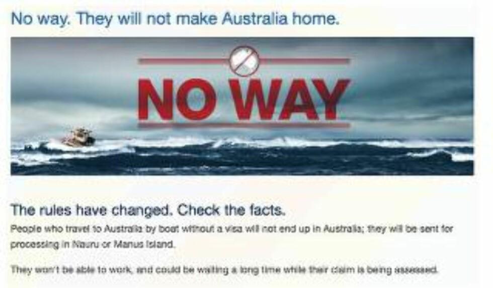 FORDØMT POLITIKK: Australias flyktningpolitikk, hvor mennesker som når deres farvann og territorium, blir sendt til Papua Ny-Guinea og Nauro, strider med folkeretten og er fordømt av FN. Foto: Skjermdump fra Department of Immigration and Border control