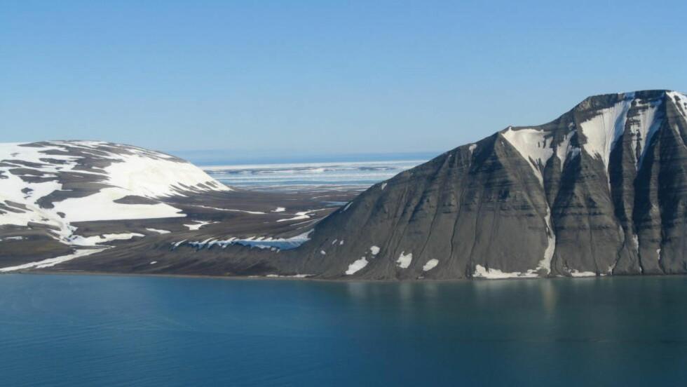 NEGERDALEN: Negerdalen er en geologisk forsenkning mellom Negerfjellet i sør og Tjuvfjordhorga i nord på Edgeøya på Svalbard. Foto: Anders Skoglund / Norsk polarinstitutt