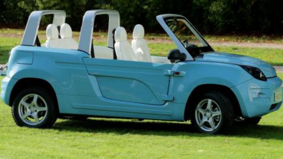 EL-SUV-CAB: Den hinter om 70-tallets franske hippie-ikon, Citroën Méhari - men den er elektrisk drevet. Utseendet er rimelig sært, men som bil til utflukter til stranden burde den duge. Foto: BOLLORE