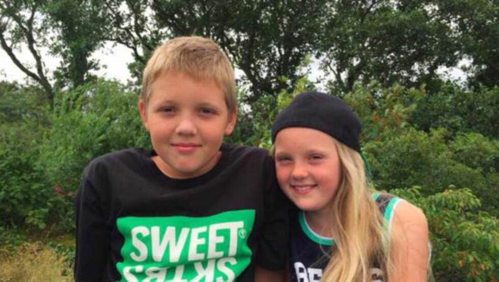 FANT FLASKEPOST: Alma og Svante fant en flaskepost som var undertegnet Herman, ni år. Han ble funnet i Fredrikstad i går kveld. Foto: Privat