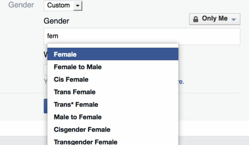 KAN VELGE: På den engelske varianten av Facebook kan alle brukere velge mellom 59 ulike kjønnskategorier. Foto: Skjermdump / Scanpix