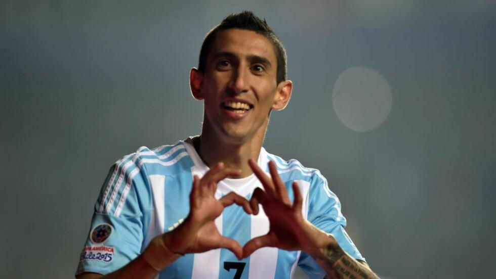 HVOR ER ANGEL?: Angel Di Maria skal nærme seg en overgang til PSG. Men akkurat nå vet ingen hvor i verden argentineren befinner seg. Foto: AFP PHOTO / YURI CORTEZ