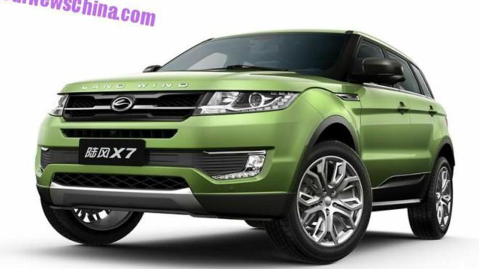 PLAGIAT: Kinesiske Land Wind X7 er en direkte kopi av Range Rover Evoque. FOTO: CARNEWSCHINA.COM
