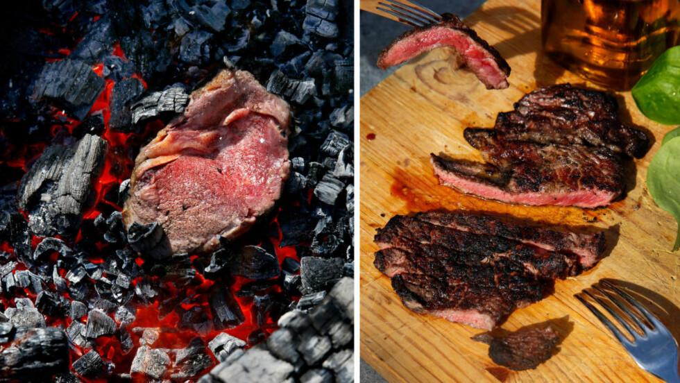 RETT FRA KULLET :  La kjøttet hvile litt på en fjøl, eller aller helst på en rist, i 5-10 minutter før du begynner å skjære i det. Foto: METTE RANDEM