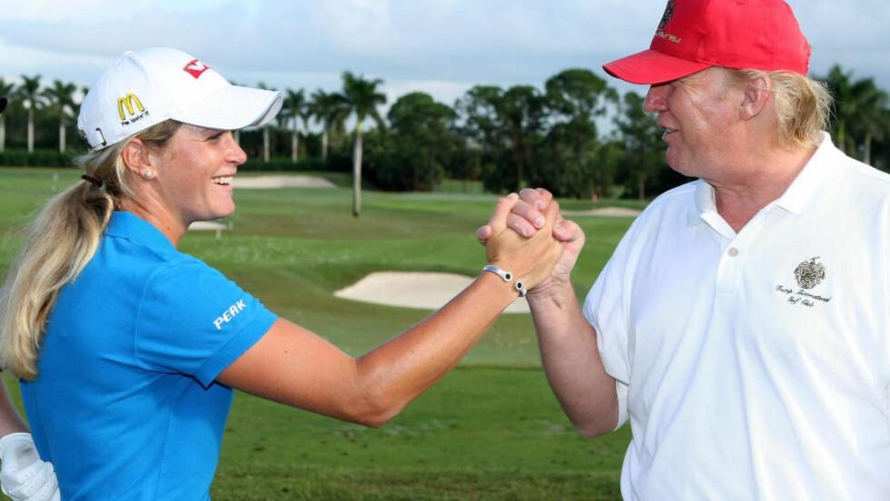 GJORT MYE I KVINNEGOLF: Donald Trump har meldt sin ankomst under kvinnenes majorturnering British Open i golf. Enkelte av stjernene er skeptiske, men Suzann Pettersen velger å framheve det den amerikanske presidentkandidaten har gjort for kvinnegolf. Dette bildet er fra 2007. Foto: Scott Halleran/Getty Images/AFP