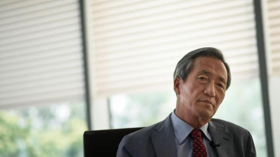UTFORDRER: Det har vært kjent lenge at Chung Moon-joon vil bli president i FIFA, men i dag gjorde han kandidaturet sitt offisielt. Foto: AFP PHOTO / Ed Jones / NTB Scanpix