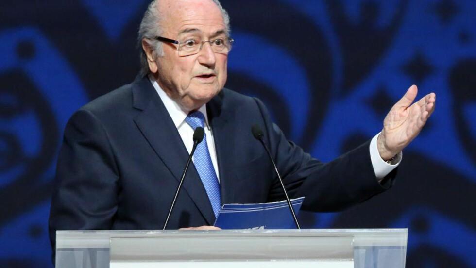 KANNIBAL: Sepp Blatter er ikke rangert høyt i Chung Moon-joons bok. Foto: AFP PHOTO / KIRILL KUDRYAVTSEV / NTB Scanpix