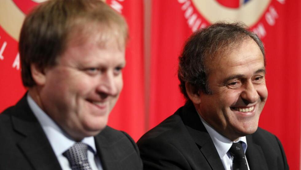 STILLER TIL VALG: Fotballpresident Yngve Hallén er positiv til Michel Platini som FIFA-president, men NFF sin eventuelle støtte må først forankres i forbundsstyret. Foto: Lise Åserud / Scanpix