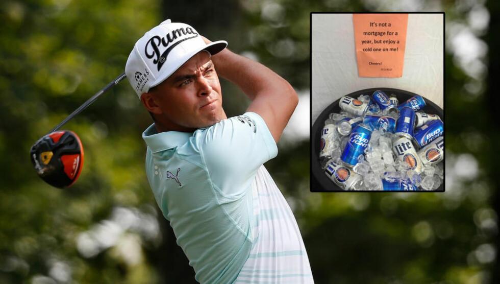 SPANDERTE: Golf-spilleren Rickie Lambert hadde tydeligvis spanderbuksene på da han slo hole-in-one under PGA-touren i Virginia. Foto: NTB Scanpix