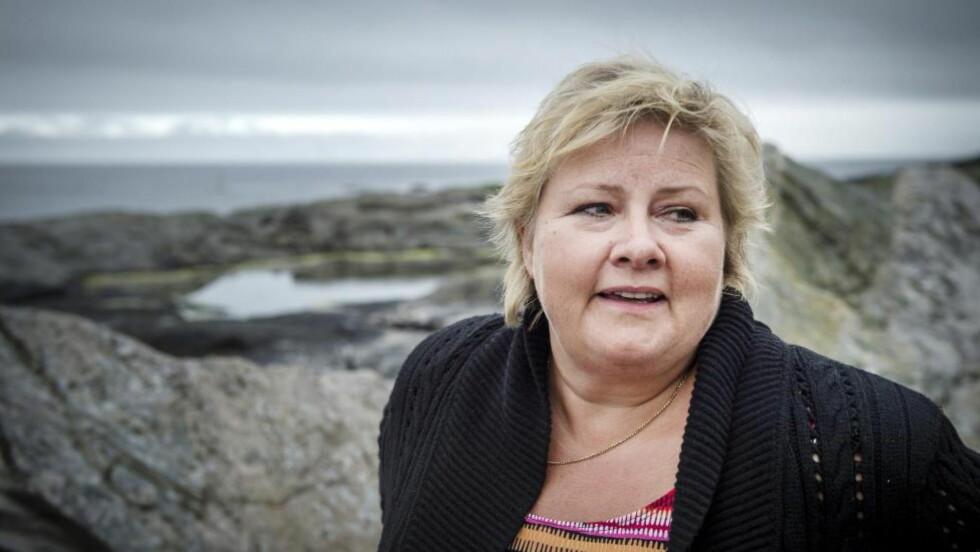 VIL FORTSETTE: Erna Solberg drømmer om fornyet regjeringsmakt etter valget i 2017, men først er det kommunevalgkamp i høst. -  Jeg har drevet valgkamp siden 1977, men nå skal jeg jo styre landet samtidig. Jeg syns valgkamp er gøy, selv om det blir tøft, sier Solberg. Foto: Øistein Norum Monsen