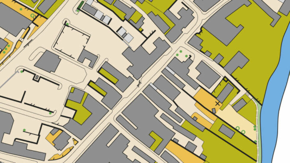 """EGET KART: Dette er et utsnitt av kartet Norges Gaute Hallan Steiwer har tegnet etter """"turist-besøk"""" i byen Nairn — i tillegg til """"gransking"""" av google maps, flyfotos og street view. Med kart over VM-byen kan løperne på forhånd studere mulige løypevarianter,  vurdere ulike strekk og dermed spare tid på å finne raskeste vei mellom postene. Et sprintkart tegnes i målestokk 1 : 4000. Det betyr at en centimeter på kartet er 40 meter i terrenget. Det lyse gule er løpbar, det grå er bygninger, grønt er hager/parker, og de tjukke svarte strekene er gjerder/murer som ikke er lov å passere. En sprintkonkurranse varer i om lag 13 minutter og er normalt svært tette oppgjør der hvert sekund teller og kan være forskjellen på suksess eller fiasko. Kart: Gaute Hallen Steiwer (løper VM-sprint søndag)"""