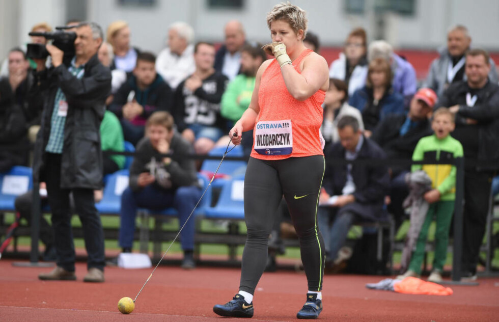 Polish Anita Wlodarczyk  is seen after Polish hammer throw during the Golden Spike (Zlata Tretra) athletic meeting in Ostrava, Czech Republic, May 25, 2015. (CTK Photo/Jaroslav Ozana)