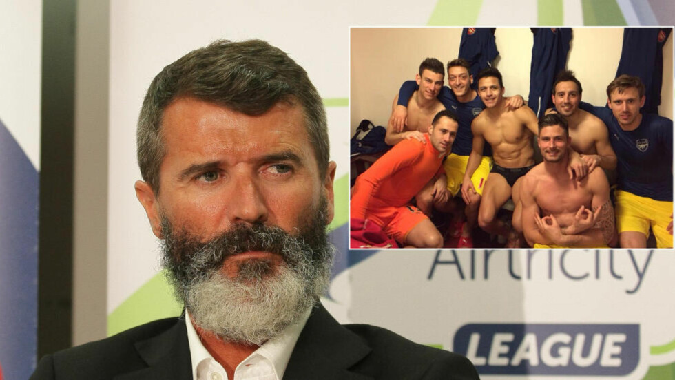 KRITISK:  Roy Keane mener flere av Arsenal-spillerne er for opptatt av å vise fram sixpacken og ta selfier. Foto: Roy Keane / Twitter.