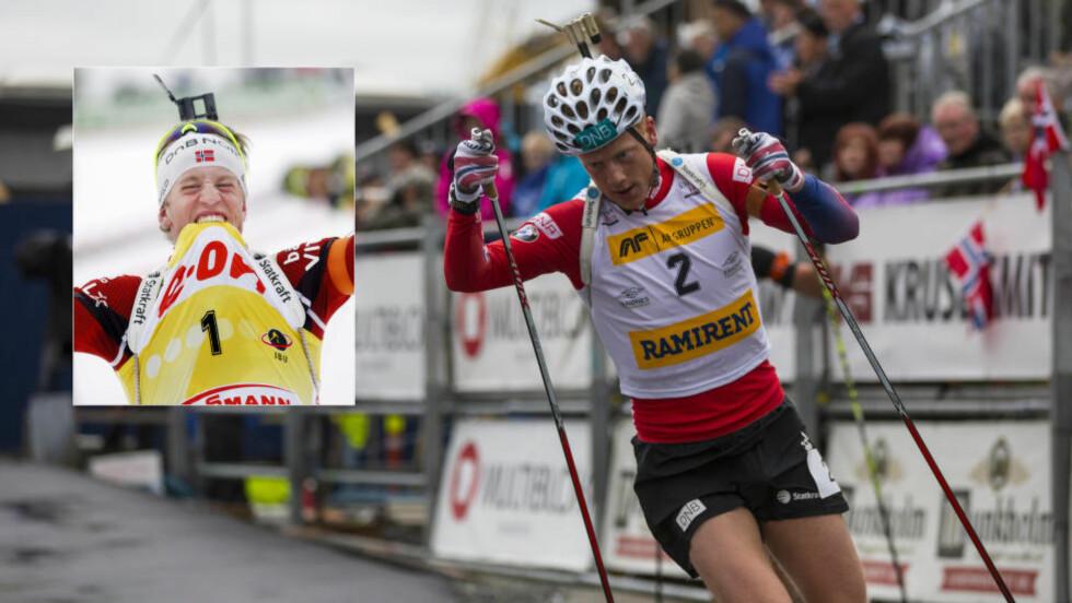 GUL TRØYE:  Johannes Thingnes Bø velger en sammenlagtseier i verdenscup over VM-gull i Holmenkollen. Ingen nordmann har vunnet verdenscupen sammenlagt siden bror Tarjei Bø gjorde det i 2011. Foto: Henrik Torjussen / Blinkfestivalen / NTB Scanpix.