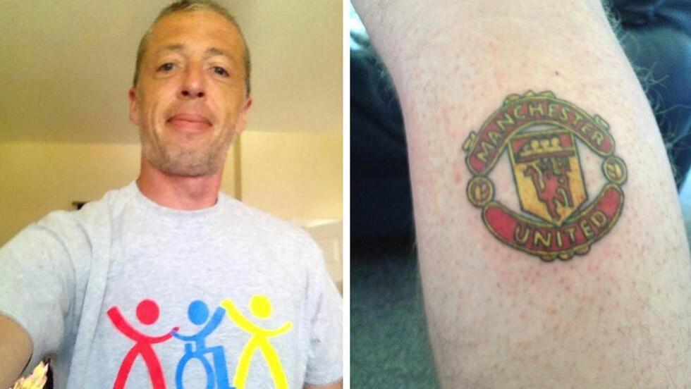 ERKERIVALEN: Da Mark Pinder greide å få samlet inn 130 000 kroner, tatoverte han United-logoen - som lovet. Foto: Duchenne Now
