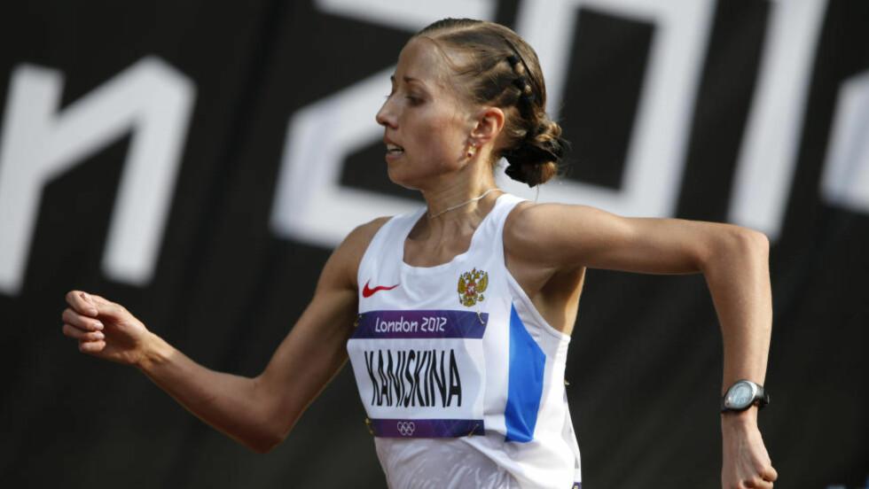 ENDA EN SVINDLER:  Populære Olga Kaniskina vant ett OL og tre VM i kappgang på rad, men ble til slutt avslørt sammen med de andre russiske friidrettsstjernene. FOTO:AP/Emilio Morenatti.