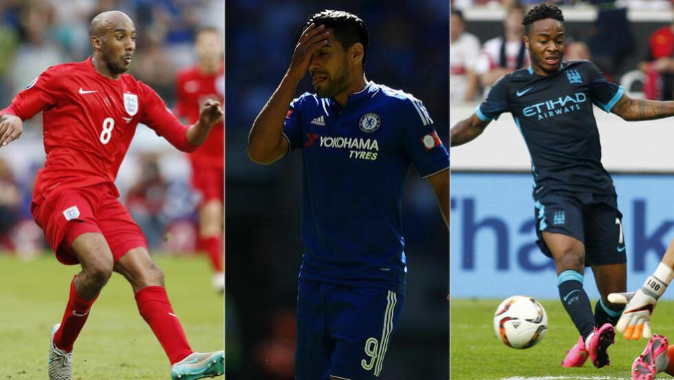 SKIFTET BEITE: Fabian Delph, Radamel Falcao og Raheem Sterling er tre spillere som har byttet klubb i sommer. Foto: SOLO SYNDICATION / REUTERS / NTB SCANPIX