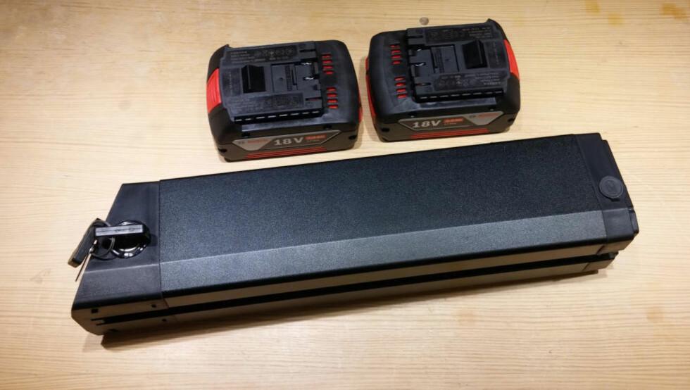 FUNGERER DET? Kan du bruke et par verktøybatterier som reservebatteri til elsykkelen? Foto: BRYNJULF BLIX