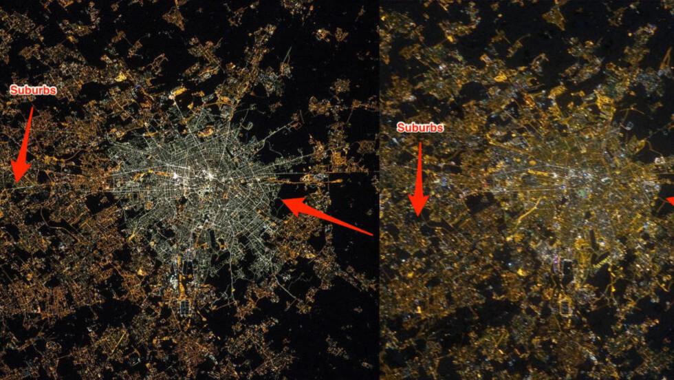 STERKE KONTRASTER:  Natten i Milano kan ha forandret seg hvis en skal tro de seneste bildene fra NASA. Her er et bilde fra 2015 ved siden av et fra 2013. Trolig er bildene tatt med forskjellig kamerateknologi, noe som kan ha bidratt til forskjellene. Foto: NASA