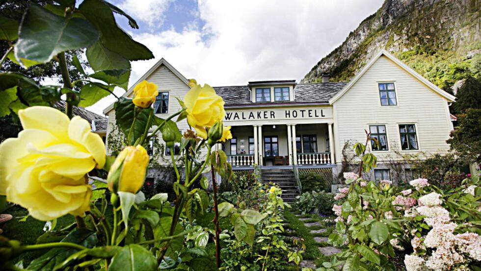HOTELLREKORDER:  Den svake krona har ført til rekordsommer på mange norske hoteller som her på  Walaker Hotell i Luster innerst i Sognefjorden. Foto: OLE C.H: THOMASSEN