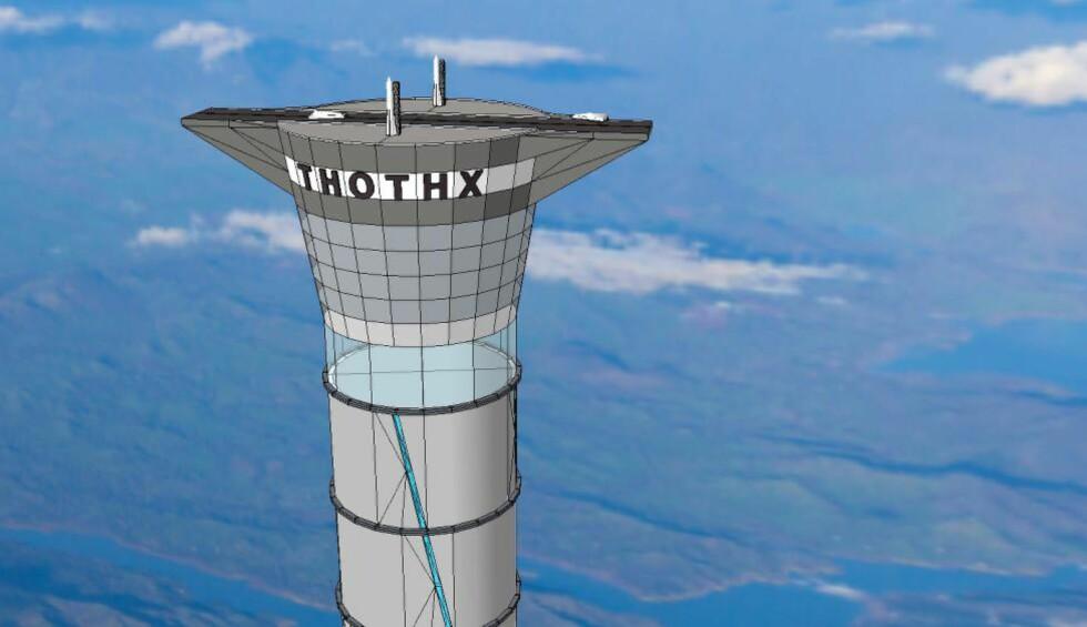 LUFTSLOTT?: Det kanadiske selskapet Thoth Technology har fått godkjent et patent på et 20 kilometer høyt tårn som skal kunne frakte astronauter og last opp i stratosfæren ved hjelp av en gigantisk heis. Men forskere lar seg ikke overbevise. Illustrasjon: Thoth/REX Shutterstock