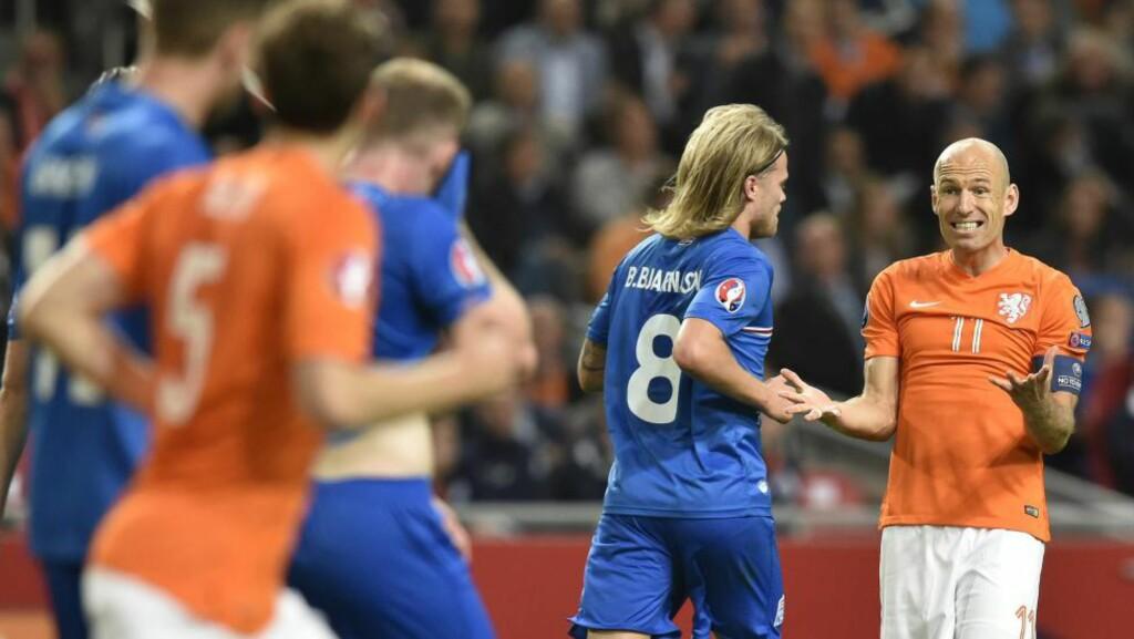 MISFORNØYD:  Arjen Robben og Nederland tapte 1-0 for Island. Foto: NTB Scanpix