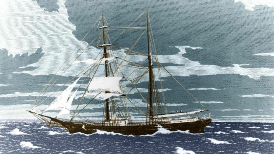 SPØKELSESSKIPET: Dette er en gravering som viser Mary Celeste, skipet som ble funnet midt i Atlanterhavet i deseber 1872. Illustrasjon: NTB Scanpix