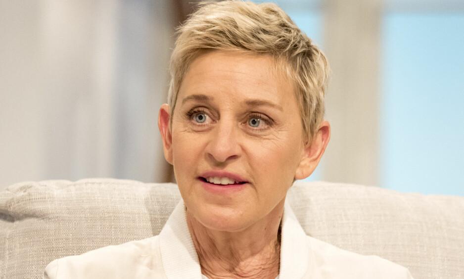 FIKK KJEFT: Talkshowdronning Ellen DeGeneres ble møtt med rasismeanklager da hun delte et manipulert bilde av seg selv og friidrettsutøveren Usain Bolt. Foto: Ken McKay / ITV / REX / Shutterstock / NTB Scanpix