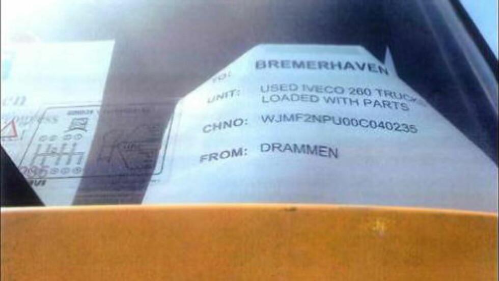 DRAMMEN: Dette bildet, tatt i Dubai, dokumenterer at lastebilene kom fra Drammen, via Bremerhaven i Tyskland. Foto: FN