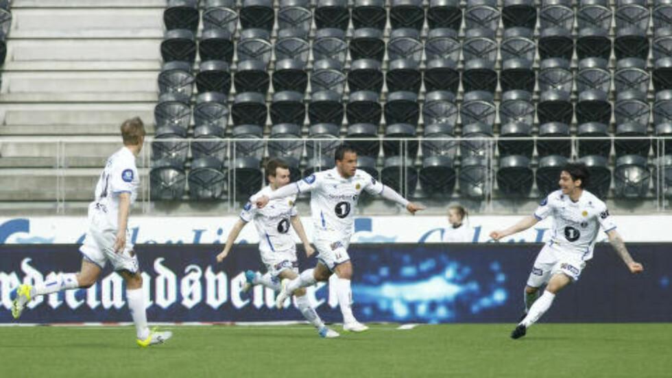 0-1: Danny Cruz feirer Bodø/Glimts scoring mot Start. Foto: Tor Erik Schrøder / NTB scanpix