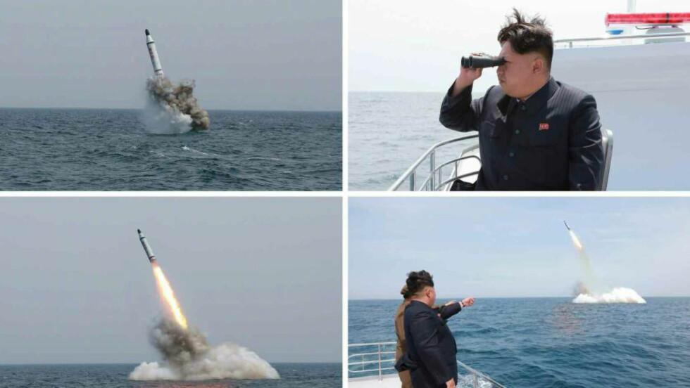 BLØFF ELLER EKTE: Disse bildene, sluppet av det nordkoreanske statlige nyhetsbyrået KCNA i helga, skal angivelig vise testoppskytningen av en ballistisk rakett avfyrt fra en ubåt. Flere eksperter er imidlertid i tvil om at Nord-Korea virkelig har gjort det de hevder.  Foto: EPA/KCNA/NTB scanpix