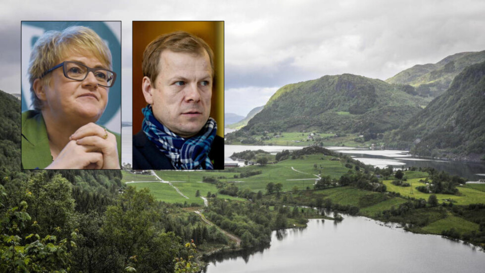 REAGERER: Venstre-leder Trine Skei Grande og SVs Heikki Holmås reagerer på regjeringens tett bånd til gruveselskapet Nordic Mining, som er gitt tillatelse til et sjødeponi for gruveavfall i Førdefjorden. Foto: Øistein Norum Monsen / Dagbladet