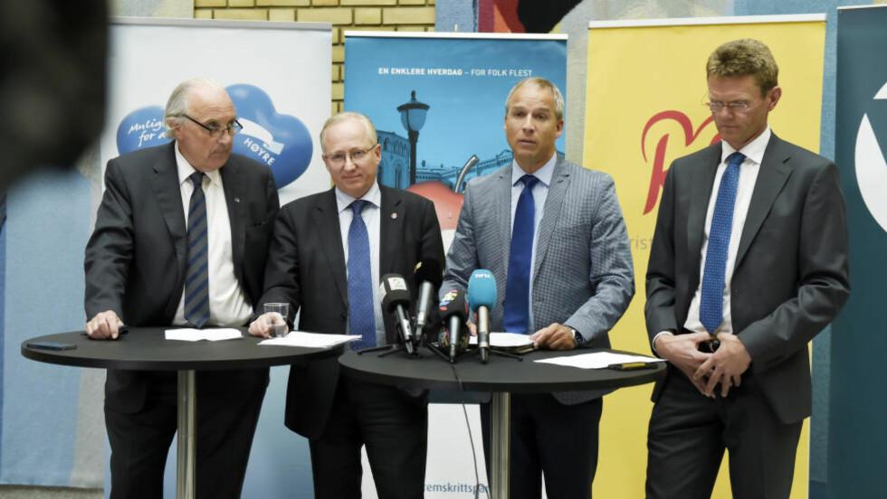 <strong> SKAFFET ENIGHET:</strong>  Regjeringspartiene har blitt enige om et revidert nasjonalbudsjett. Foto: Øistein Norum Monsen / Dagbladet