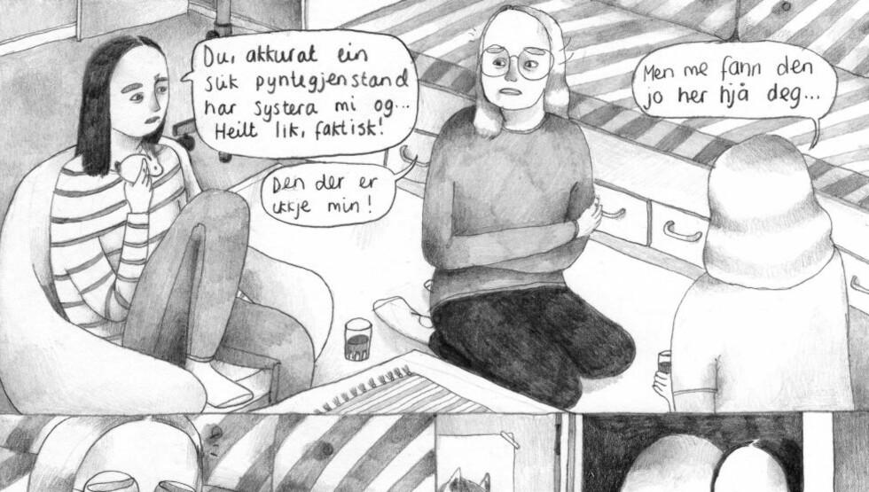 VENNEKAMP: «Hundedagar» er en tegneserie som skildrer oppvekst, rivalisering og kampen for å passe inn på en unikt ærlig og presis måte, mener anmelderen. Illustrasjon fra boka