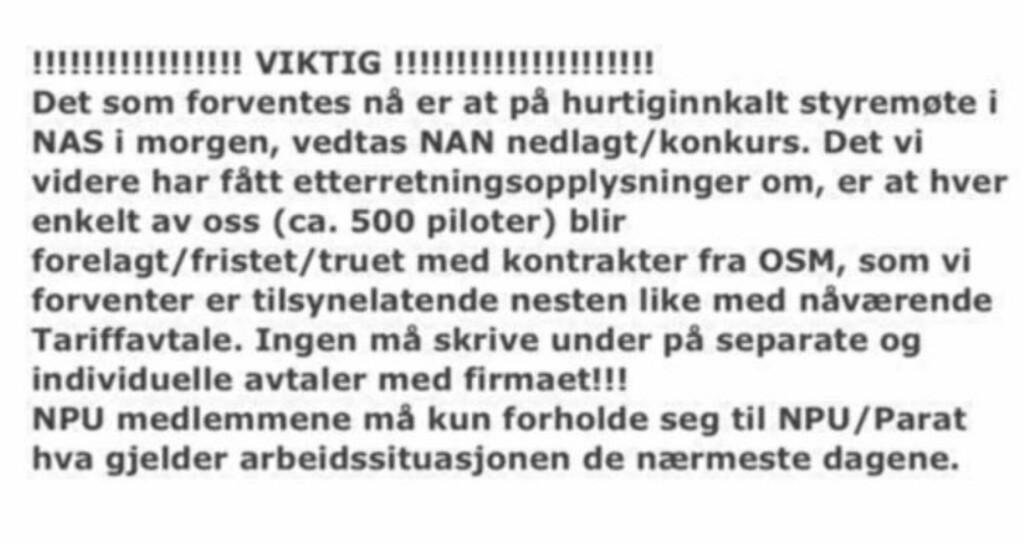 FRYKTER KONKURS: Denne meldingen sendte Norwegian-pilotene ut til sine medlemmer i dag. Foto: Privat